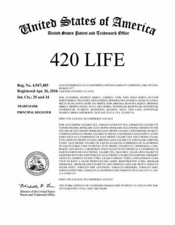 420 Life US Trademark; 420Life US Trademark; US Trademark; 420Life; 420 Life; US Trademark;
